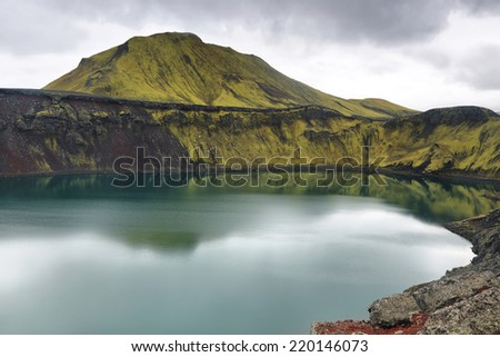 Hnausapollur volcanic crater lake in Iceland - stock photo