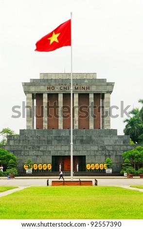 Ho Chi Min mausoleum in Hanoi (Vietnam) - stock photo