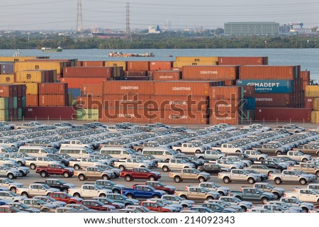 HO CHI MINH CITY, VIET NAM- MARCH 08, 2014 : Cars have just imported at Ho Chi Minh City SPCT Port, Saigon River, this industrial port is logistic service of import, export goods  - stock photo