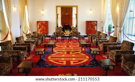HO CHI MINH CITY, VIETNAM- AUG 16: Antique view of Independence Palace interior, beautiful living room, luxury decoration, Nguyen Van Thieu is last president of feudalism, Vietnam, Aug 16, 2014 - stock photo