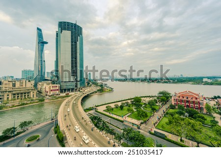 HO CHI MINH CITY, VIETNAM - JAN 4: Areal view of City Center   in Ho Chi Minh City on Jan 4, 2015. - stock photo
