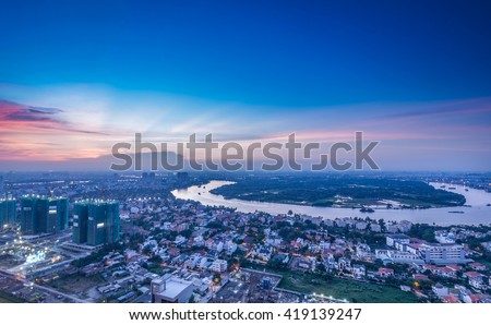 Ho Chi Minh City, Vietnam - July 04, 2015: Beautiful dawn over downtown. - stock photo