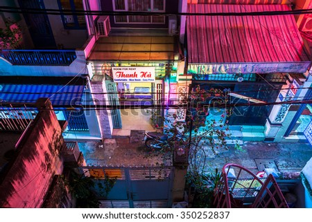 Ho Chi Minh City, Vietnam - November 24, 2015: Night view of the empty backside alley of  District 1, famous backpackers area in Saigon, November 24, 2015, Vietnam. - stock photo