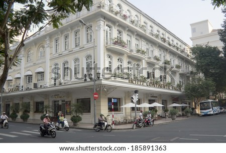 Ho Chi Minh City, Vietnam-October 29th 2013: The Continental Hotel.Built in 1880, the hotel was named after the Hotel Continental in Paris. - stock photo