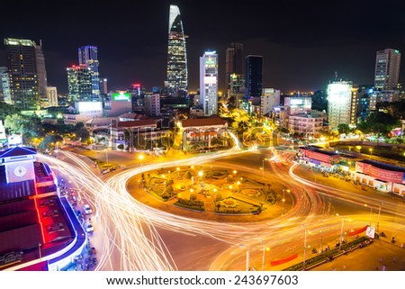 HO CHI MINH, VIETNAM - december 16, 2014 Ben Thanh Market and Quach Thi Trang park in Ho Chi Minh city, in evening, Vietnam on December 16, 2014. Ho Chi Minh city is the biggest city in Vietnam.  - stock photo