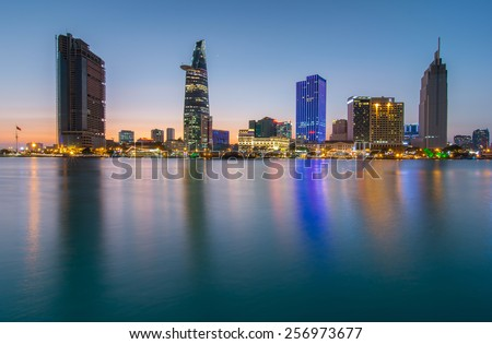 HO CHI MINH, VIETNAM - FEBRUARY 25, 2015 : Ho Chi Minh city (Saigon) to light the truth and subtle shimmer. - stock photo