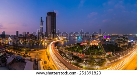 HO CHI MINH, VIETNAM - FEBRUARY 7, 2015 : Panoramic views from roads and bridges Nguyen Tat Thanh Khanh Hoi Ben Nghe canal crossing in Ho Chi Minh City (Saigon) at up beautifully. - stock photo