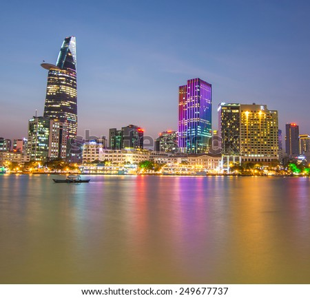 HO CHI MINH, VIETNAM - FEBRUARY 3, 2015 : Take in Ho Chi Minh City (Saigon), while the sparkling lights were on and the blue hour has arrived. - stock photo