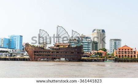 HO CHI MINH, VIETNAM - JAN 11, 2016: Views of the city from the Saigon River. Saigon River (the length of 256 kilometers) is most important to Ho Chi Minh City as it is the main water supply. - stock photo