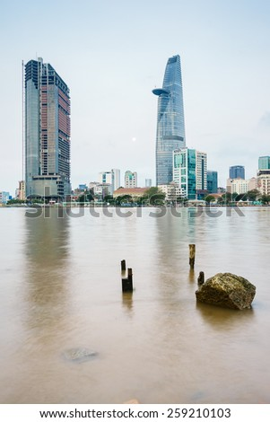 HO CHI MINH, VIETNAM - MARCH 07,2015. Saigon Riverside View from Thu Thiem, Ho Chi Minh City in the early morning. Ho Chi Minh city is the biggest city in Vietnam - stock photo