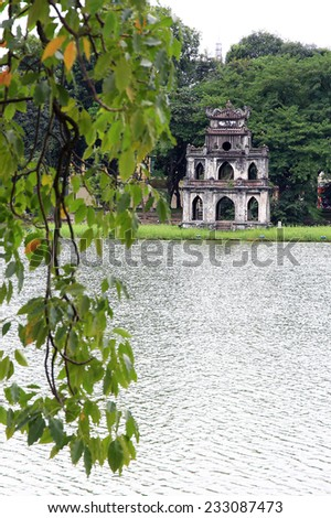 Ho Hoan Kiem of Hanoi, Vietnam, with the Tortoise Tower- is the symbol of Hanoi,Vietnam - stock photo