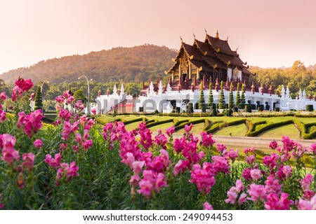 Ho Kham Luang at Royal Flora Expo, traditional thai architecture in the Lanna style, Chiang Mai, Thailand - stock photo