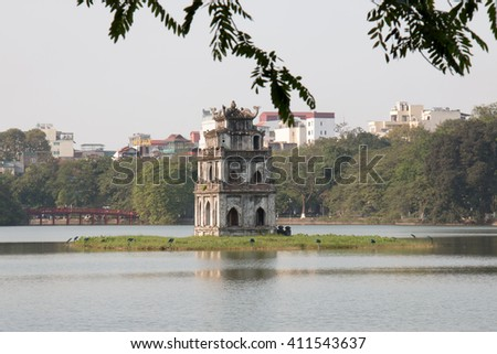 Hoan Kiem lake, Hanoi, Vietnam, with the Tortoise Tower in the middle - stock photo