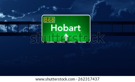 Hobart Australia Highway Road Sign at Night - stock photo