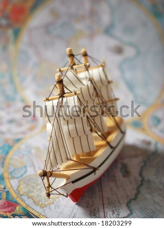 hobby model of sailboat. Antique pirate map. retro collection - stock photo