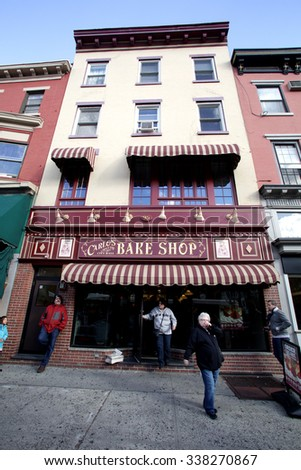 HOBOKEN, NEW JERSEY - OCTOBER 17, 2015: Carlos Bake Shop. The bakery is the setting of the TLC television series, Cake Boss. - stock photo
