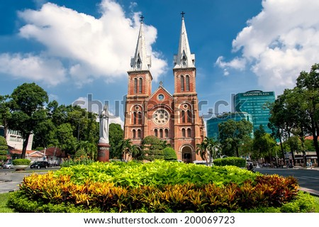 HOCHIMINH CITY, VIETNAM - MAY 31: Notre Dame cathedral in Ho Chi Minh City, Vietnam on May 31, 2014. Built in French domination ( 1880) and designed by architecter J. Bourard. - stock photo