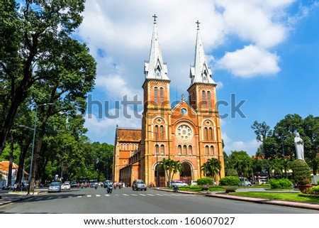 HOCHIMINH CITY, VIETNAM - OCTOBER 30: Notre Dame cathedral in Ho Chi Minh City, Vietnam on October 30, 2013. Built in French domination ( 1880) and designed by architecter J. Bourard. - stock photo