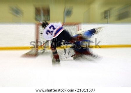 Hockey goal - stock photo