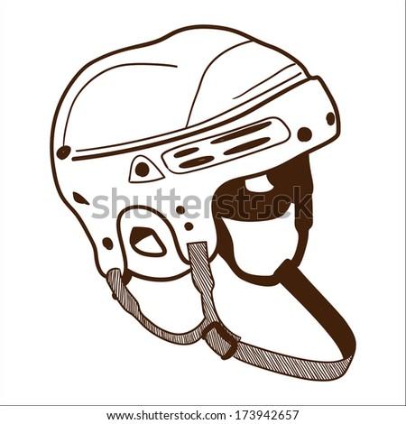 Hockey helmet isolated on white. Sketch illustration - stock photo