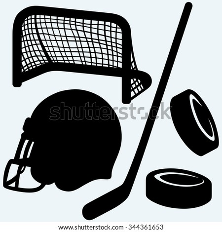 Hockey icon. stick, puck, hockey gates and helmet. Isolated on blue background. Raster silhouettes - stock photo