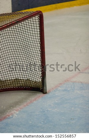 hockey net on the ice - stock photo
