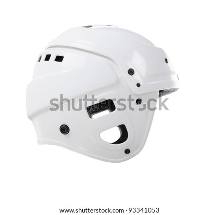 Hockey player helmet. Isolated on white background - stock photo