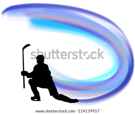 Hockey player silhouette with line background. Raster version. - stock photo