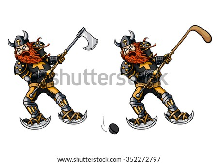 Hockey player with a stick and viking with an axe. Illustration viking playing hockey. He uses an axe instead of a stick. Alternative version - viking with a stick and a puck.  - stock photo