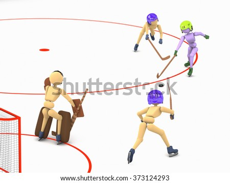 hockey players puppet men play on ice one striker attacking the goalkeeper and two defenders  3D illustration a cutout background - stock photo