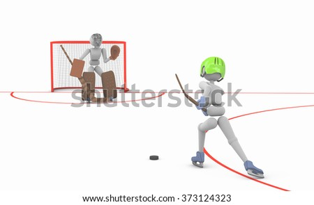 hockey players puppet men play on ice one striker shooting puck goalkeeper ready to catch  3D illustration cutout background - stock photo