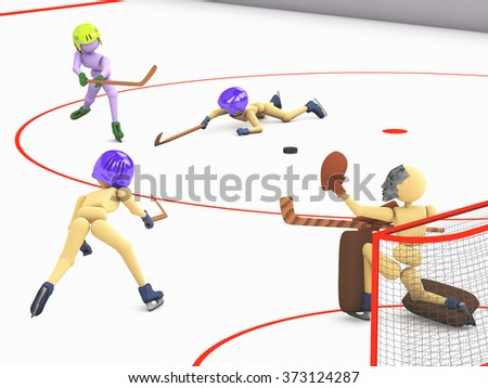 hockey players puppet men play on ice one striker shooting the puck goalkeeper catches and two defenders  3D illustration a cutout background - stock photo