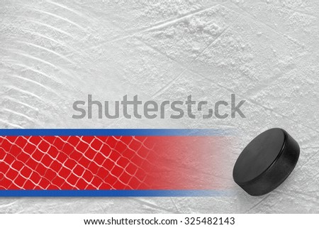 Hockey puck on the site. Texture, background, concept - stock photo