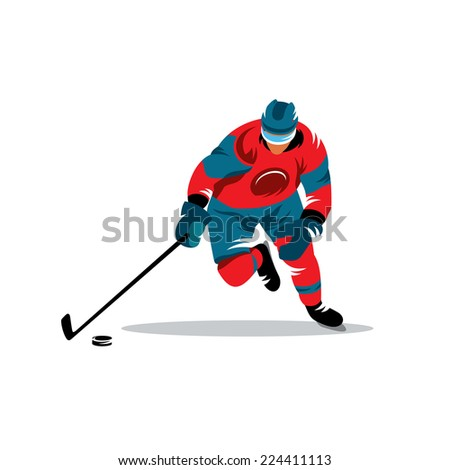 Hockey sign Branding Identity Corporate logo design template Isolated on a white background - stock photo