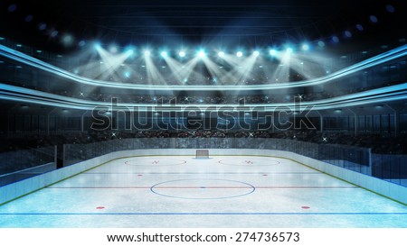 hockey stadium with spectators and an empty ice rink sport arena rendering my own design - stock photo