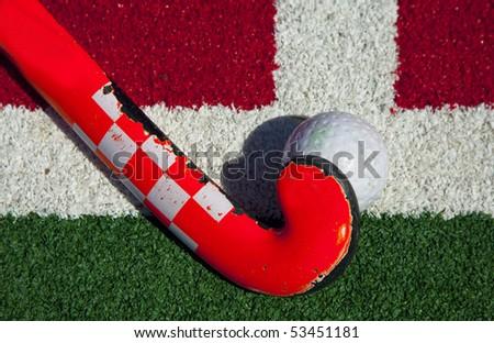 hockey stick on the field - stock photo