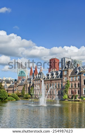 Hofvijver lake with a view on the Binnenhof, seat of Dutch government. - stock photo