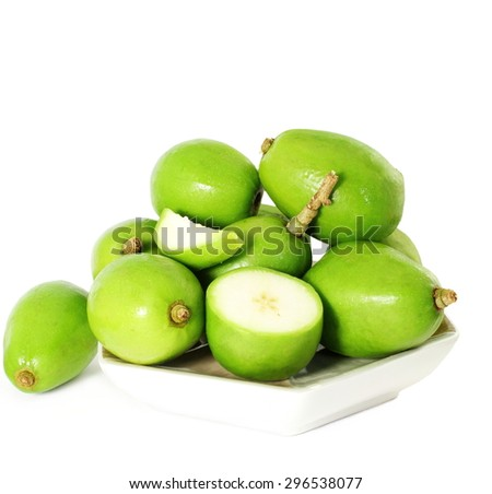 hog plum or ambada indian pickles plum in pure white background - stock photo