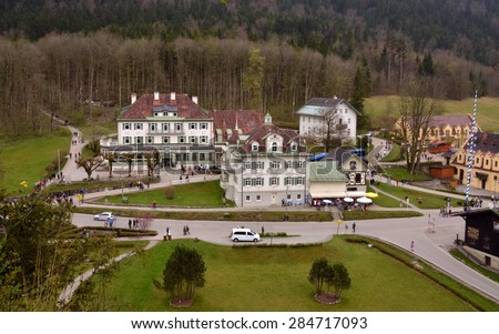HOHENSCHWANGAU, GERMANY - APRIL 20: View from the city hill on the village with its restaurants and souvenir shops. Hohenschwangau, Germany - Apr 20, 2014 - stock photo