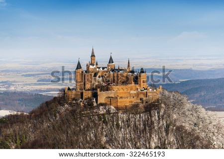 Hohenzollern castle in the WIntertime, Germany - stock photo