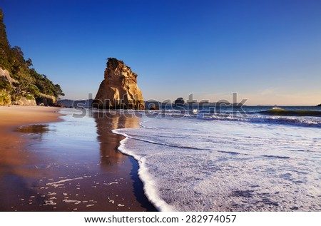 Hoho Rock, Cathedral Cove, Coromandel Peninsula, New Zealand - stock photo
