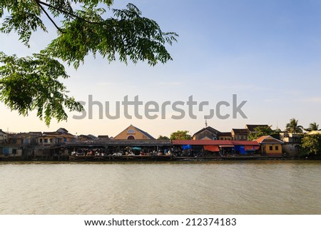 Hoi An Market is riverside of Thu Bon River, Hoi An, Quang Nam, Vietnam. Hoi An is recognized as a World Heritage Site by UNESCO. - stock photo