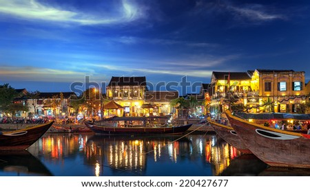 Hoi An Vietnam old town city at sunset - stock photo