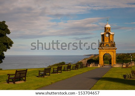 Holbeck Clock Tower in Scarborough park in Great Britain - stock photo
