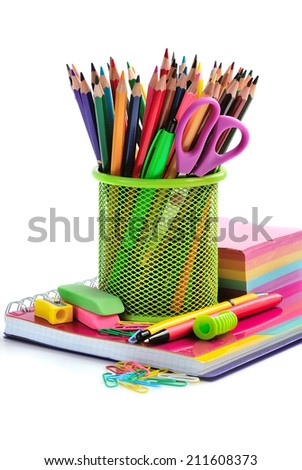 Holder basket and office supplies isolated on white background - stock photo