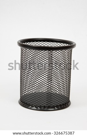 holder basket full of pencils isolated on white background - stock photo