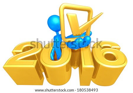 Holding A Check Mark Coming Out Of The Year - stock photo