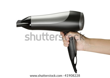 Holding a Hair Drier - stock photo