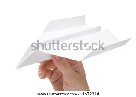 Holding a Paper Plane - stock photo