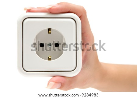 Holding a Power Outlet - stock photo